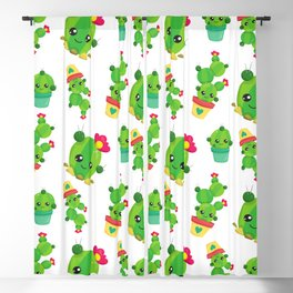Cactus Pattern, Cute Cactuses, Smiling Cactuses Blackout Curtain