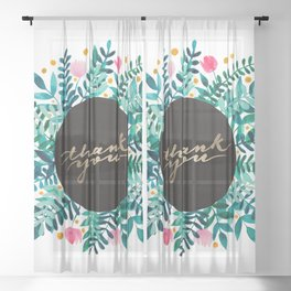 Thank you flowers and branches - pink and green Sheer Curtain