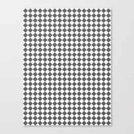 Small Diamonds - White and Dark Gray Canvas Print