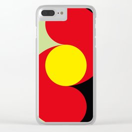 This is a sun splitting the sky in two sides, one black, one green. Spitting deep red round rays. Clear iPhone Case