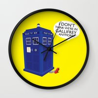 tardis Wall Clocks featuring Tardis by Elizabeth A