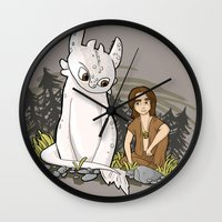 how to train your dragon Wall Clocks featuring How To Train Your Luck Dragon by Lacey Simpson