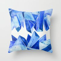 minerals Throw Pillows featuring Sapphire Watercolor Facets by Cat Coquillette