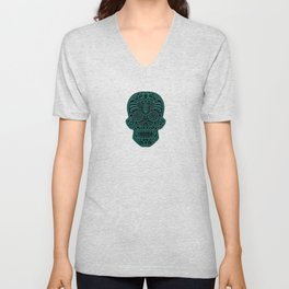 Intricate Teal Blue and Black Day of the Dead Sugar Skull Unisex V-Neck