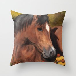 Little Brown Filly Throw Pillow