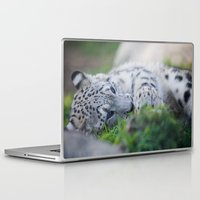 snow leopard Laptop & iPad Skins featuring Snow Leopard  by Dimind