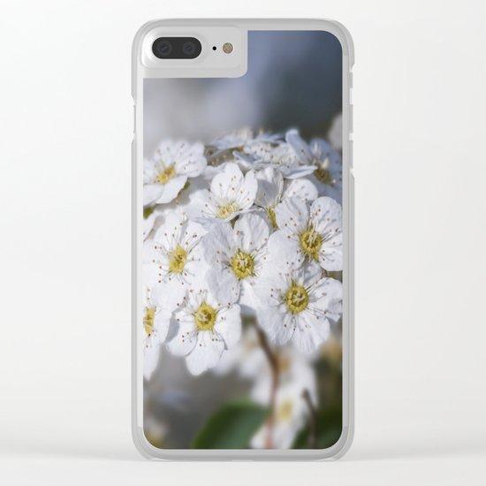 Bridal Wreath macro Clear iPhone Case