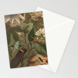 Antique  Passion Flower and Cicada Lithograph Stationery Cards