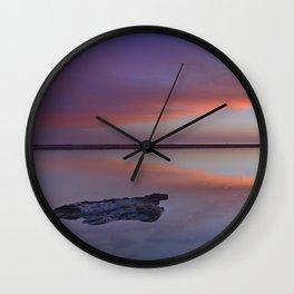 Panoramic sea. Purple sunset at the beach. Tarifa beach Wall Clock