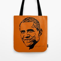 obama Tote Bags featuring Obama by Cushy Diplomacy