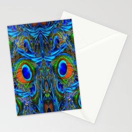 ARTY FEATHERY BLUE PEACOCK ABSTRACTED  FEATHERS ART Stationery Cards