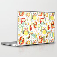 mod Laptop & iPad Skins featuring Mod Owls by Jeannine Feierbach Designs