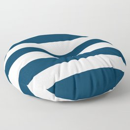Prussian blue - solid color - white stripes pattern Floor Pillow