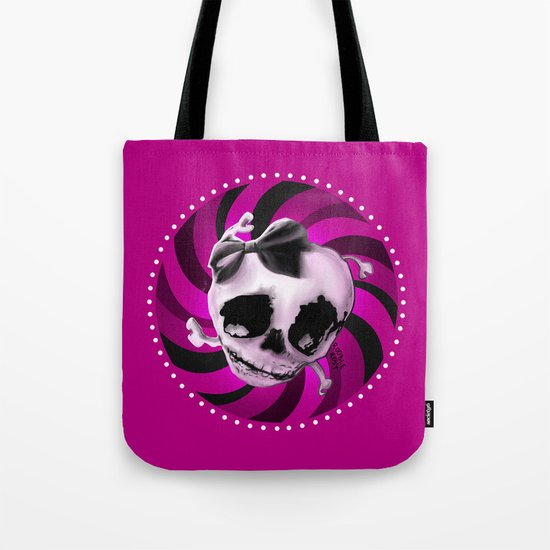 Girly Pink Skull with Black Bow Tote Bag