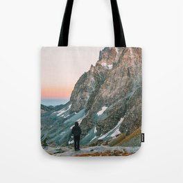 sunset on the monviso Tote Bag