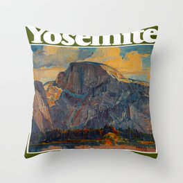 Vintage Yosemite National Park Throw Pillow