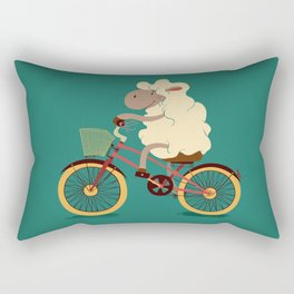 Lamb on the bike Rectangular Pillow