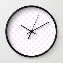 Small Polka Dots - Pastel Violet on White Wall Clock