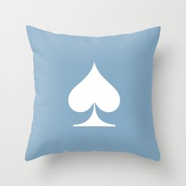 spade sign on placid blue background Throw Pillow