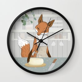 Cheese Time of Day in Fox's Kitchen Wall Clock