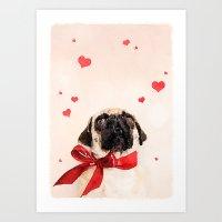 pugs Art Prints featuring I ♥ Pugs by Roman Bratschi