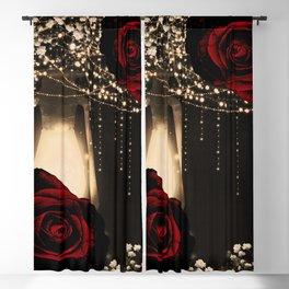 Rustic Glow Lantern & Dark Red Roses Blackout Curtain