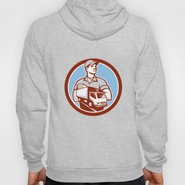 Removal Man Moving Delivery Van Circle Retro Hoody