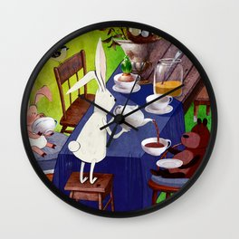 Bunny Tea Party in forest Wall Clock