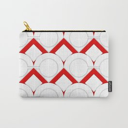White Circles And Red Squares Abstract Geometric Pattern Carry-All Pouch