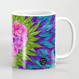 Floral Heart with Cannabis Leaves Coffee Mug