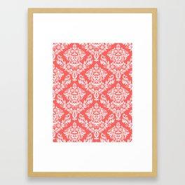 Coral Damask Framed Art Print