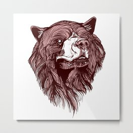 Red Bear Head No1. Metal Print