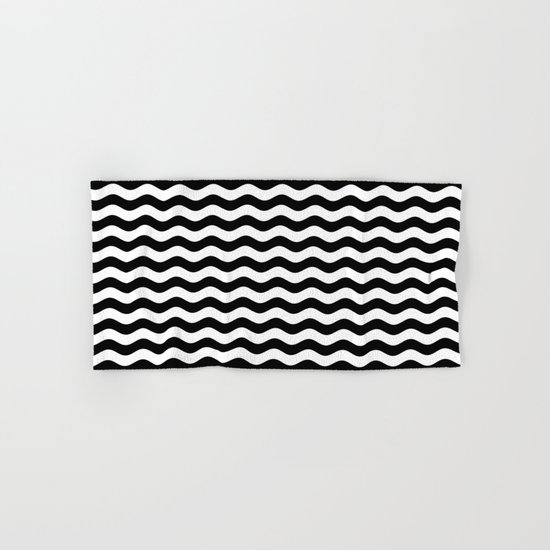 Wavy Stripes (Black/White) Hand & Bath Towel