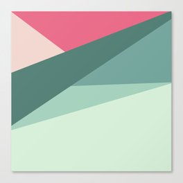 Modern abstract pastel pink green geometrical colorblock Canvas Print