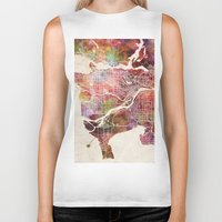 vancouver Biker Tanks featuring Vancouver by MapMapMaps.Watercolors