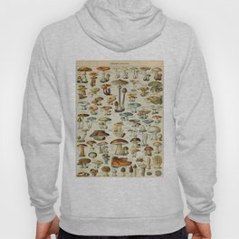 Mushrooms Vintage Scientific Illustration French Language Encyclopedia Lithographs Educational Hoody