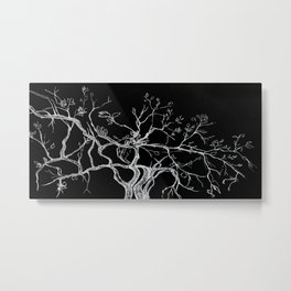 Graphic art, tree leaves, white ink Metal Print