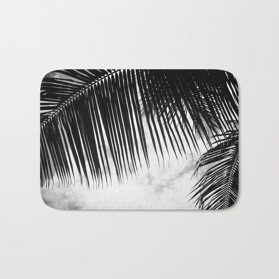 maui paradise palms hawaii monochrome Bath Mat