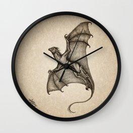"""Hurricane Wyvern"" by Amber Marine, Ink & Graphite Dragon Art, (Copyright 2016) Wall Clock"