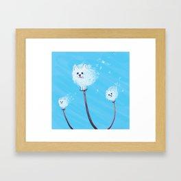 Pomeranian Dandelions Framed Art Print