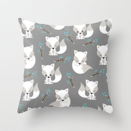 ARCTIC FOXES ON GREY Throw Pillow