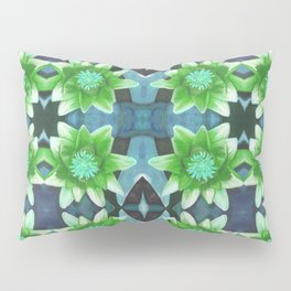 Blue Tropical Bromiliad Panel Pillow Sham