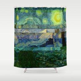 Starry Night Glitch Shower Curtain