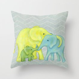 Elephant Family of Three in Yellow, Blue and Green Throw Pillow