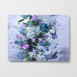 Flowers, Pink, Lilac, Teal Metal Print