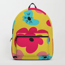Funky poppies (golden background) Backpack