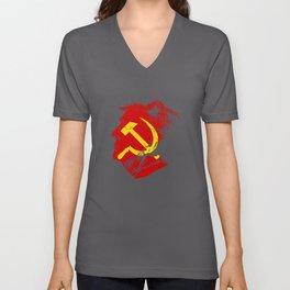 Anti Trump Soviet Flag Hammer and Sickle Unisex V-Neck