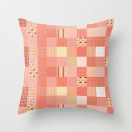 CORAL CRAZY QUILT Throw Pillow