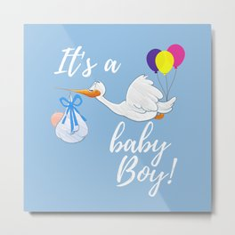 It's A Baby Boy On Blue Backgound Metal Print