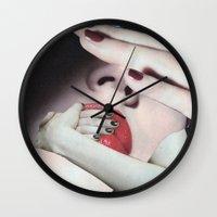 introvert Wall Clocks featuring Introvert by Deborah Stevenson Collage Art